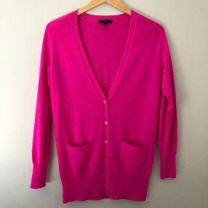 J. Crew 100% Wool Cardigan Hot Pink Sz Small